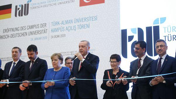 """Cumhurbaşkanı Recep Tayyip Erdoğan ve Almanya Başbakanı Angela Merkel, """"Türk-Alman Üniversitesi Yeni Binalarının Açılış Töreni""""ne katıldı"""