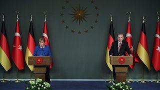 Cumhurbaşkanı Recep Tayyip Erdoğan ve Almanya Başbakanı Angela Merkel