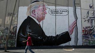 کاریکاتوری از دونالد ترامپ بر دیواری در بیتالحم