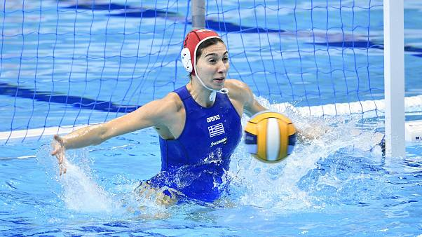 Goalkeeper Chrysoula Diamantopoulou of Greece