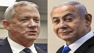 رئيس الوزراء الإسرائيلي بنيامين نتنياهو وزعيم حزب الأبيض والأزرق بيني غانتس