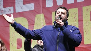 Matteo Salvini of the League speaks to supporters during a campaign event in Bibbiano, Emilia-Romagna, Italy, on Thursday, 23 January