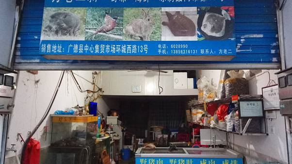 Store suspected of selling trafficked wildlife is seen in Guangde city  (Anti-Poaching Special Squad via AP)