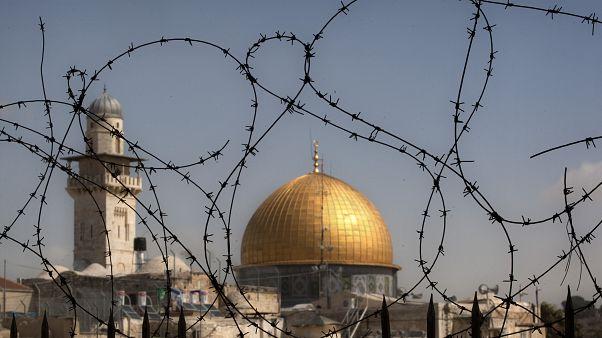 Kubbetüs Sahra ve el Aksa yerleşkesinin dışarıdan görünümü. Kudüs