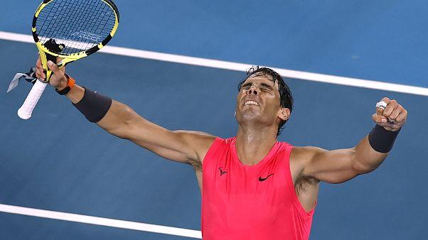 Nadal celebra tras un partido muy difícil contra el tenista local Nick Kyrgios