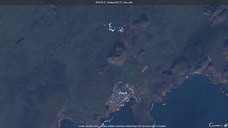 Imagen de la zona que está siendo vigilada. Al norte, el famoso lago de aguas azules que visitan miles de turistas