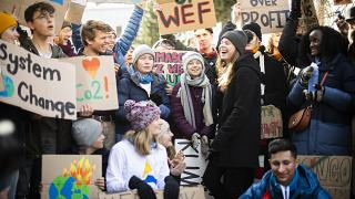 """Swedish climate activist Greta Thunberg participates in """"Fridays for Future"""" demo during the 50th annual meeting of the World Economic Forum. Davos, Switzerland. 24 January."""