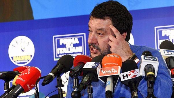 Foto Stefano Cavicchi / Matteo Salvini durante la conferenza stampa per commentare i dati elettorali
