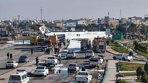 Plane overshoots runway, skids into street in Iran