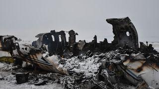 Afganistan'ın Gazne vilayetinde düşen uçağın enkazı