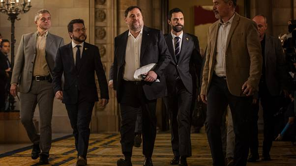 Oriol Junqueras llega al parlamento de Cataluña
