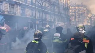 Tear gas was fired to disperse the protest