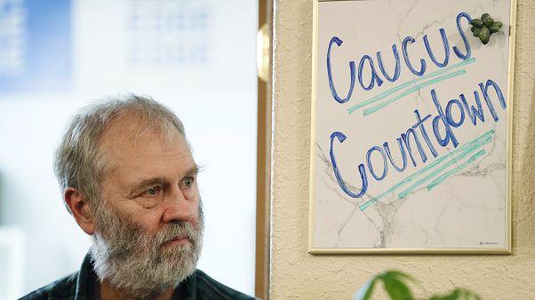 Bill Iammatteo-Code, of Mystic, Iowa, listens during a caucus training meeting.