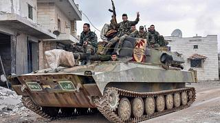 Un char de l'armée syrienne dans la périphérie de Maaret al-Numan, dans le nord-ouest de la Syrie, le 28 janvier 2020.