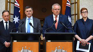 اسکات موریسون (نفر دوم از راست) نخست وزیر استرالیا