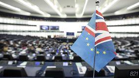 Флаги Великобритании и ЕС в Европарламенте.