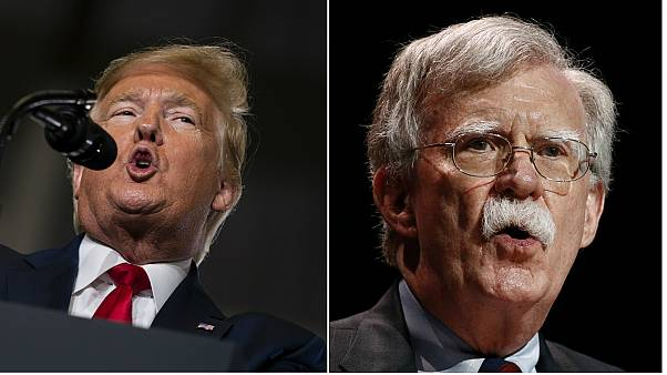 A new book written by John Bolton (right) is said to reveal information that could harm Donald Trump's (left) impeachment defence