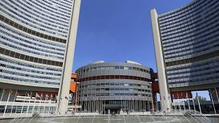 Outside view of the UN building where closed-door nuclear talks take place photographed  in  Vienna, Austria, Wednesday, June 18, 2014. (AP Photo/Ronald Zak)