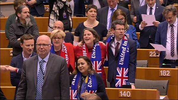 Watch: MEPs sing Auld Lang Syne after giving historic Brexit backing