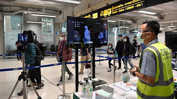 Caméra thermique installée dans l'aéroport de Bangkok-Suvarnabhumi en Thaïlande, le 29 janvier 2020.