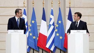 Yunanistan Başbakanı Kiryakos Miçotakis ve Fransa Cumhurbaşkanı Emmanuel Macron