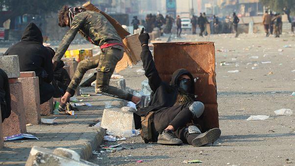 متظاهرون عراقيون خلال موجة احتجاجات جديدة بالعاصمة بغداد. 30/01/2020