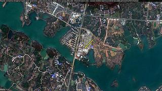 Спутниковый снимок строящейся больницы в Ухани.