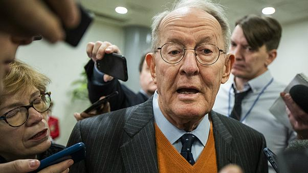 Sen. Lamar Alexander, R-Tenn., speaks to reporters as he arrives at the Capitol in Washington, Monday, Jan. 27, 2020.