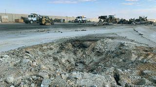İran'ın füzelerle saldırdığı Irak'ın Anbar kentindeki Aynül Esed Üssü. Üs, Amerikan askerlerince kullanılıyor