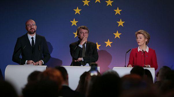 AB Konseyi Başkanı Charles Michel, AB Komisyonu Başkanı Ursula von der Leyen ve Avrupa Parlamentosu Başkanı David Sassoli