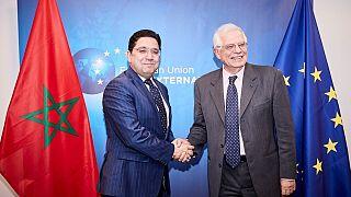 جوزيب بوريل الممثل السامي للاتحاد الأوروبي للشؤون الخارجية والسياسة الأمنية، و ناصر بوريطة وزير الخارجية المغربي