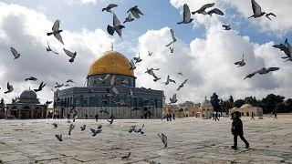 مسجد قبة الصخرة وصحنه داخل المسجد الأقصى بالقدس. الجمعة 31/01/2020