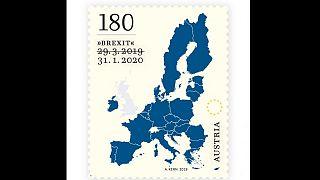 Kuriose Brexit-Sonderbriefmarke in Österreich mit durchgestrichenem Datum