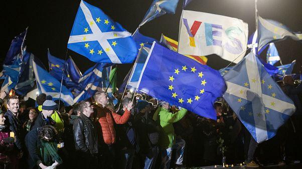 Pro-European supporters outside the Scottish Parliament in Edinburgh