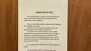 """A """"Happy Brexit Day"""" notice posted in a block of flats in Norwich, UK, has been reported to police."""