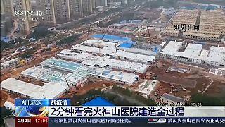 Video: Çin koronavirüsün çıktığı Vuhan'da bin kişilik hastaneyi 10 günde tamamladı