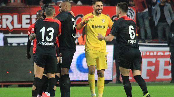 Süper Lig'in 20. haftasında Gaziantep FK, Demir Grup Sivasspor ile karşılaştı. Gaziantep FK oyuncuları gol sevinci yaşadı. ( Adsız Günebakan - Anadolu Ajansı )