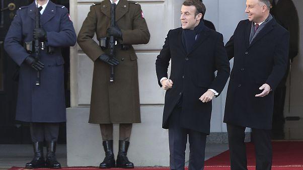 Emmanuel Macron et le président polonais Andrzej Duda à Varsovie - Lundi 3 février 2020