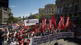 İspanya'da 1 Mayıs gösterisi