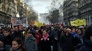 File pic: Protestors march during a demonstration to denounce French President Emmanuel Macron's plans to overhaul the pension system, in Paris, Wednesday, Jan. 29, 2020.