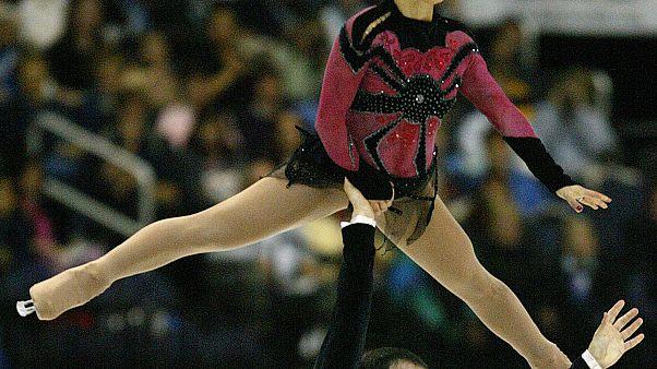 Sarah Abitbol et Stephane Bernadis lors d'une compétition en 2003 à Washington, États-Unis