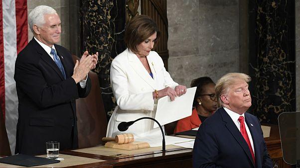 O final do discurso marcou a sessão do Estado da Nação de Donald Trump