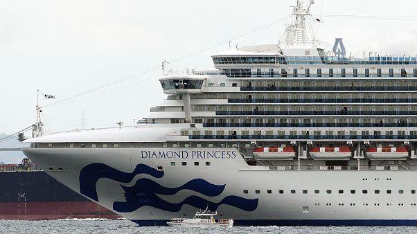Cruise ship Diamond Princess anchoring off the Yokohama Port Tuesday, Feb. 4, 2020, near Tokyo.
