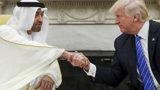 ترامب مصافحاً ولي عهد أبو ظبي خلال لقاء جميع بينهما في البيت الأبيض عام 2017