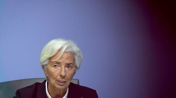 FILE: Christine Lagarde speaks during a press conference following a meeting of the ECB governing council in Frankfurt, Germany, Thursday, Jan. 23, 20