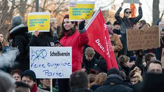 People demonstrate outside Thuringia's state parliament after the far-right AfD party helped a little-known politician into power. Erfurt, February 5, 2020.