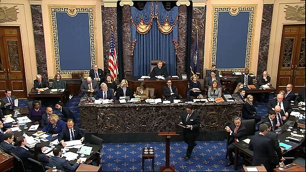 Closing arguments in the impeachment trial against Donald Trump in the Senate at the US Capitol in Washington, February 3, 2020. (Senate Television via AP)