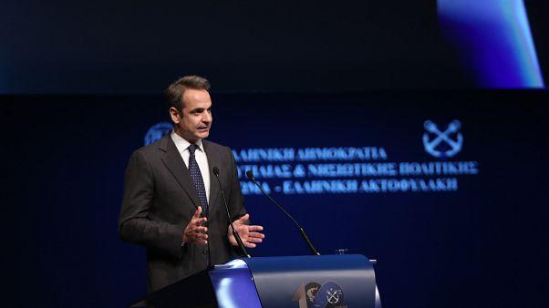 Ο πρωθυπουργός Κυριάκος Μητσοτάκης, μιλάει στην εκδήλωση για τον εορτασμό των 100 ετών από την ίδρυση του Λιμενικού Σώματος - Ελληνικής Ακτοφυλακής