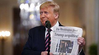 جشن شکست استیضاح در کاخ سفید؛ حمله ترامپ به پلوسی و رامنی