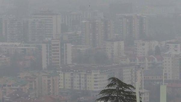 التلوث في مدينة سكوبي عاصمة مقدونيا الشمالية